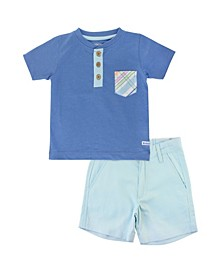 Toddler Boys Henley and Chino Shorts Set