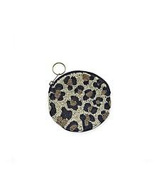 Cheetah Gold and Black Beaded Small Round Zip