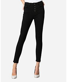 High Rise Button Up Skinny Ankle Jeans