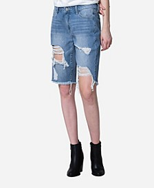 High Rise Distressed Biker Shorts