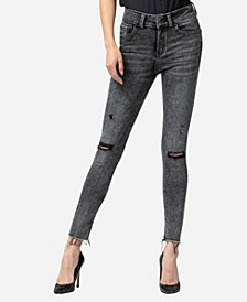 High Rise Acid Wash Skinny Ankle Jeans