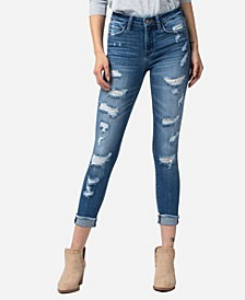 Mid Rise Fray Cuffed Hem Distressed Skinny Crop Jeans