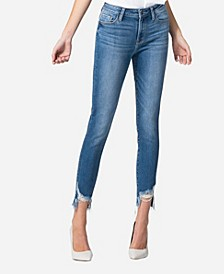 Mid Rise Released Busted Hem Skinny Ankle Jeans