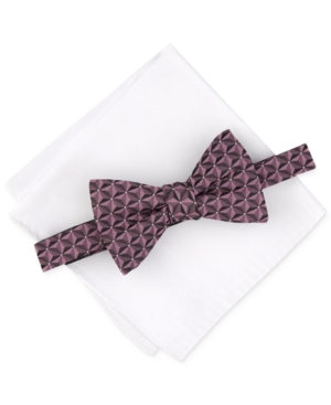 Alfani Men's Geo Bow Tie & Solid Pocket Square Set, Created for Macy's