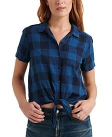 Plaid Tie-Hem Shirt