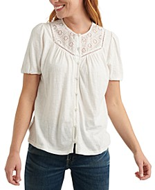 Eyelet-Contrast Top
