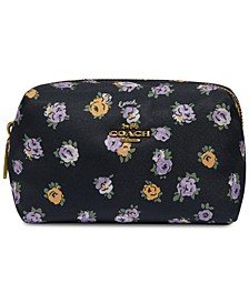 Floral Print Nylon Small Boxy Cosmetic Case