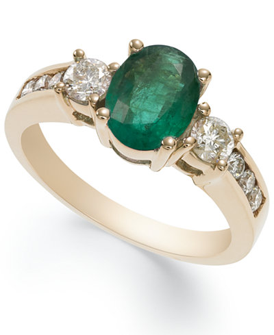 14k Gold Ring, Emerald (1-1/10 ct. t.w.) and Diamond (1/2 ct. t.w.) Oval Ring