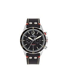 Men's Black Bay Black Leather Strap Watch, 44mm