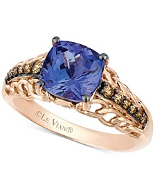Tanzanite (2 ct. t.w.) and Chocolate Diamond (1/5 ct. t.w.) Accent Ring in 14k Rose Gold, Created for Macy's