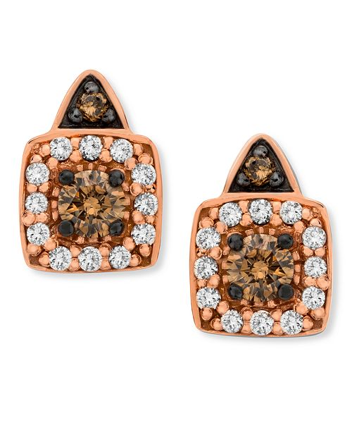 Le Vian Chocolate by Petite Chocolate and White Diamond Stud Earrings in 14k Rose Gold (1/3 ct. t.w.)