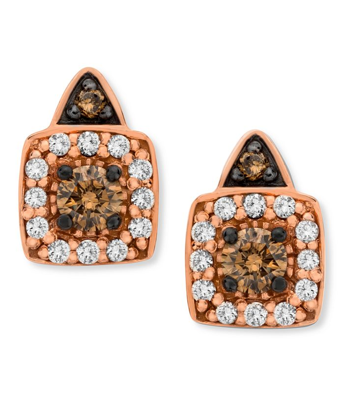 Le Vian - Chocolate and White Diamond Stud Earrings (1/3 ct. t.w.) in 14k Rose, Yellow or White Gold