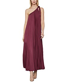 Pleated Tie-Shoulder Dress