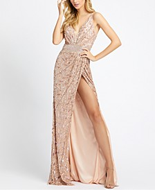 Embellished V-Neck Gown With High Slit