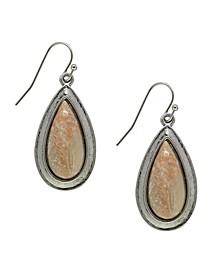 by 1928 Pewter Genuine River Stone Teardrop Earring