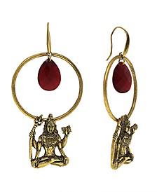 "by 1928 Goddess ""Shiva"" 14 K Gold Dipped Hoop Earring with Briolette Center"