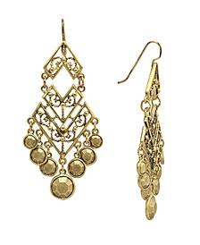 by 1928 Matte 14 K Gold Dipped Large Chevron Chandelier Earring