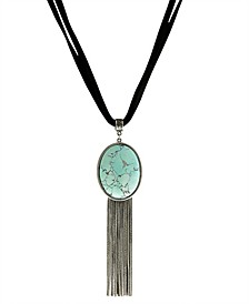 by 1928 Genuine Howlite Dyed Turquoise Oval Silver Tone Tassel Leather Necklace