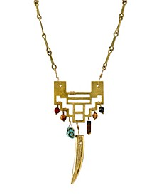 by 1928 14 K Gold Dipped Tusk Geometric Semi Precious Necklace