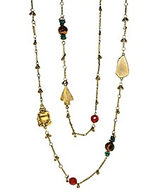 by 1928 14 K Gold Dipped Droplet Chain with Buddha and Sem-Precious Accents Necklace