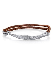 by 1928 Pewter Tone Rolled Bangle on Leather