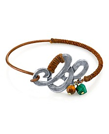 by 1928 Waxed Linen Wrapped Bangle Bracelet with Semi-Precious Tiger's Eye and Malachite