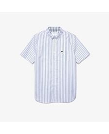 Men's Regular Fit Short Sleeve Button-Down Stripe Oxford Shirt