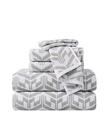 Herringbone Jacquard 6 Piece Towel Set