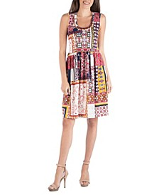 Fitted Sleeveless Patchwork Flare Dress
