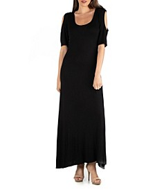 Half Sleeve Open Shoulder Maxi Dress