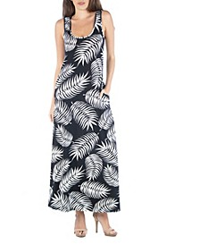Sleeveless Feather Print Maxi Dress with Pockets