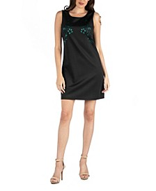 Scoop Neck Sleeveless Shift Dress with Bodice Detail