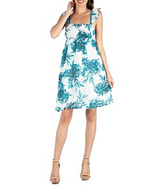 Ruffle Strap Floral Sleeveless A-Line Dress