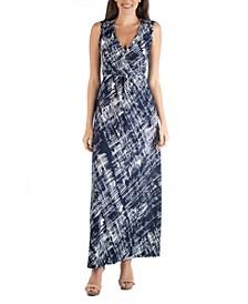Empire Waist Geometric Maxi Dress with Belt