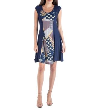 24seven Comfort Apparel Multi Print Patchwork Detail A-Line Dress
