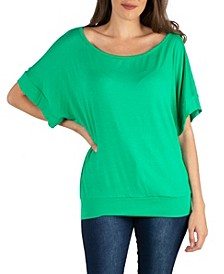 Loose Fit Dolman Top with Wide Sleeves