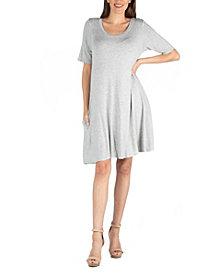 24seven Comfort Apparel Soft Flare T-Shirt Dress with Pocket Detail