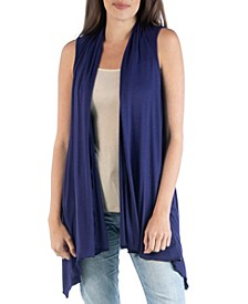 Draped Open Front Sleeveless Cardigan Vest