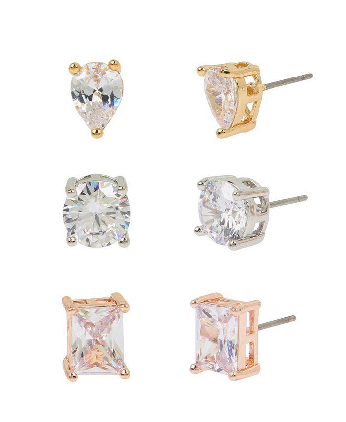 "Jessica Simpson - Mixed CZ Stone Stud Earrings Set, 0.3""-0.4"""