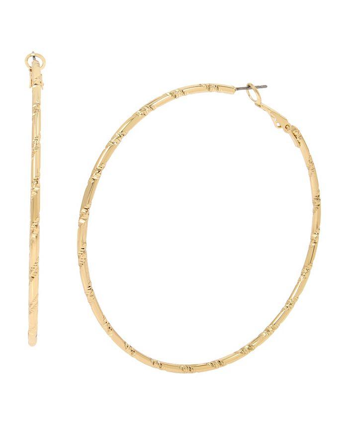 "Jessica Simpson - Hammered Texture Hoop Earrings, 2.75"""