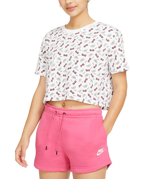 Nike Women's Cotton Printed Cropped T-Shirt