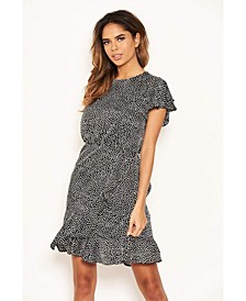 Women's Polka Dot Wrap Frill Mini Dress