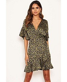 Women's Leopard Print Full Wrap Mini Dress