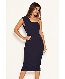 Women's One Shoulder Wrap Midi Dress