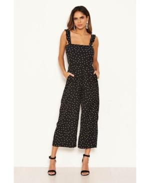 Women's Polka Dot Frill Culotte Jumpsuit