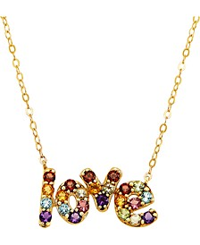 """Multi-Gemstone Love 18"""" Pendant Necklace (1 ct. t.w.) in 14k Gold-Plated Sterling Silver"""