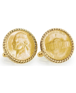 Gold-Layered Silver Jefferson Nickel Wartime Nickel Rope Bezel Coin Cuff Links