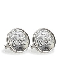 2005 Bison Nickel Sterling Silver Coin Cuff Links
