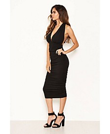 Women's Halter Neck Ruched Dress