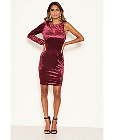 Women's Crushed Velvet One Sleeve Dress